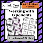 Simplifying Exponent Expressions Task Cards: Set 2   Included in this product is a set of 30 task cards on simplifying exponent expressions, a stud...