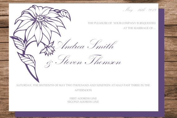 Poinsettia wedding invitation template by WeddingTemplatesHub