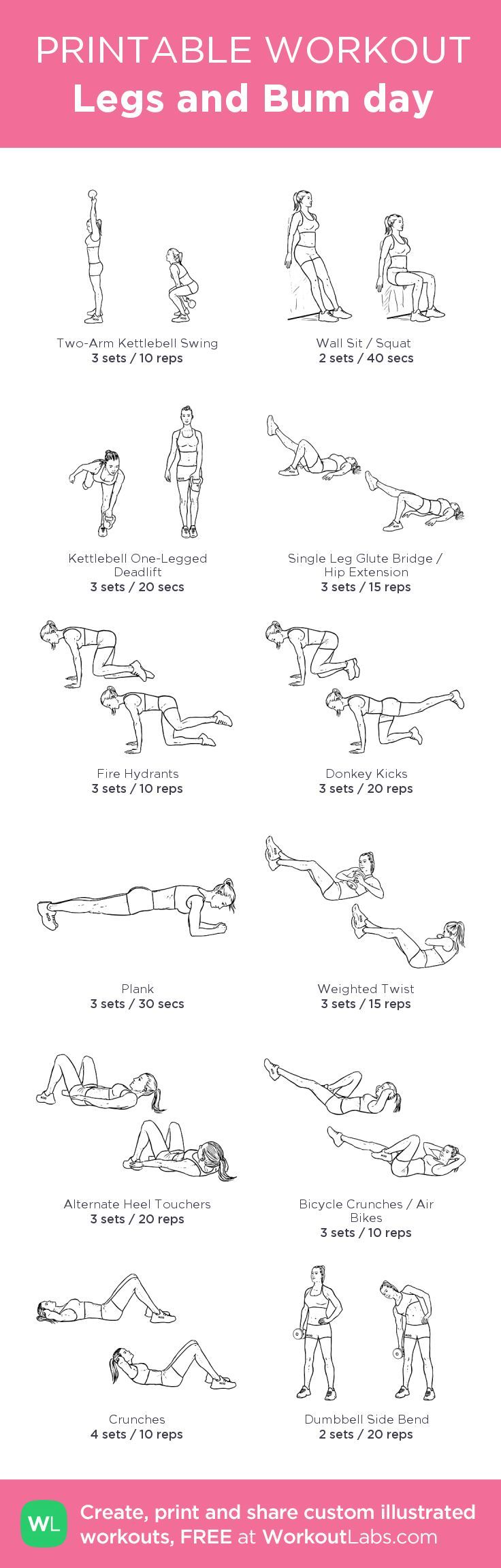 Legs and Bum day : my custom printable workout by @WorkoutLabs #workoutlabs…