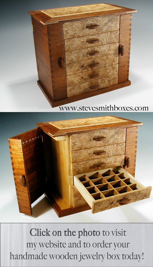 """This is one of my standing jewelry boxes that I call the """"Swingdoor."""" It has two side doors that have hooks for hanging necklaces; in addition to six drawers that hold other jewelry. The dividers are adjustable to accommodate any jewelry, watches, or other keepsakes. $690"""