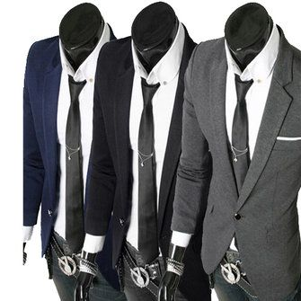 Mens New Slim Fit One Button Suit Roman Cloth Blazer - US$24.96 sold out
