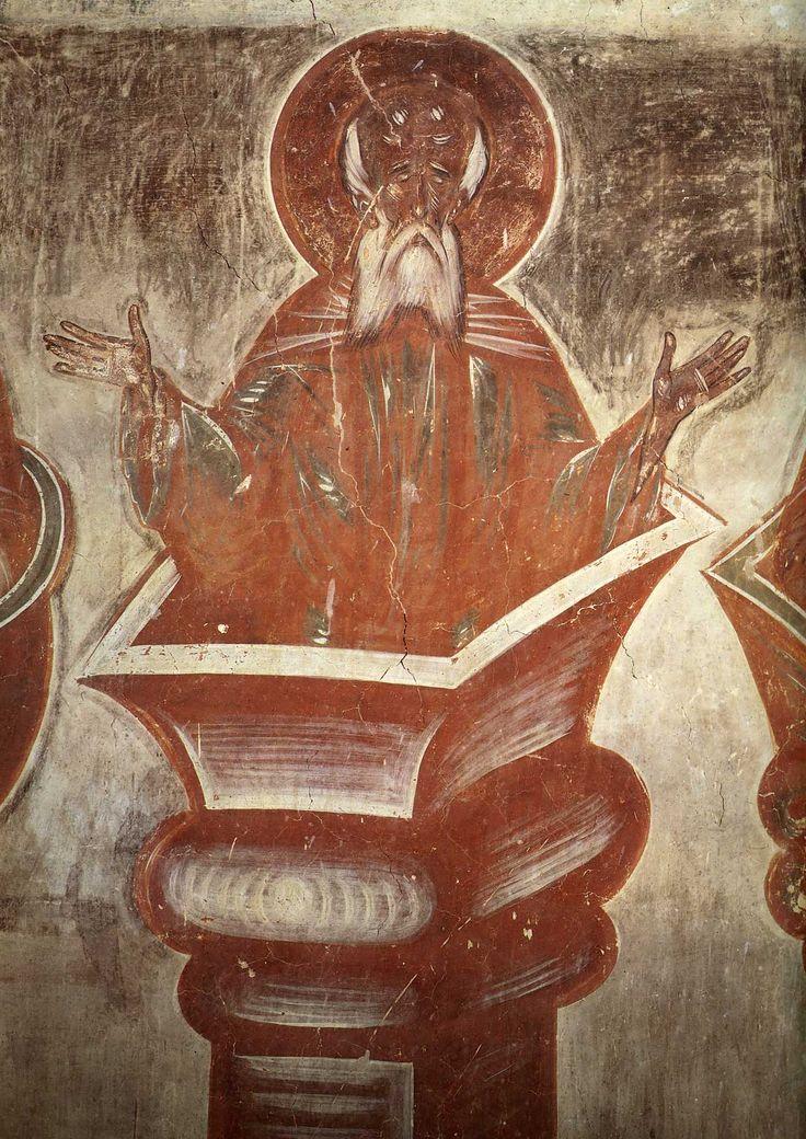 Столпник Симеон младший Дивногорец, фрагмент, церковь Спаса Преображения на Ильине улице, Феофан Грек, 1378 г.