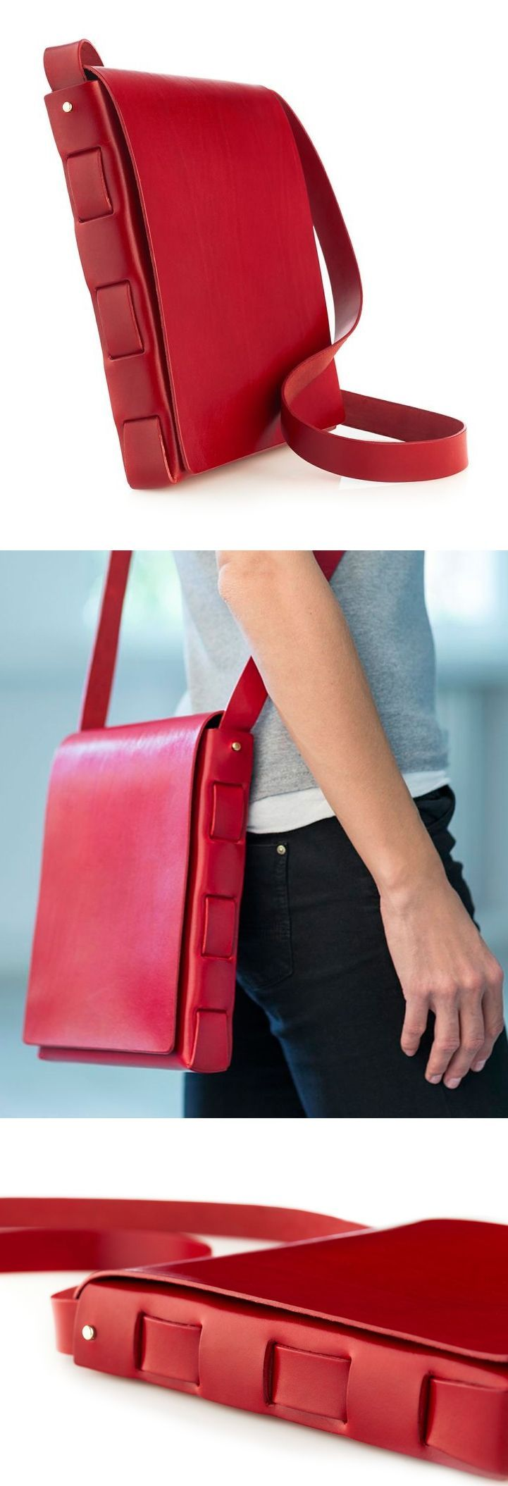 Stitchless bag // crafted from 2 pieces of leather with NO stitching, I love the elegant + simple construction!: