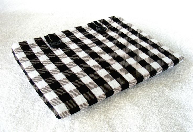 """11 Inch MacBook Cover, IPad Pro 12.9 Cover, MacBook Air Cover, IPad Pro Cover, Surface Pro Case, Black White Buffalo Plaid, 12 1/2"""" x 9 1/4"""" by LindaLeasBoutique on Etsy"""