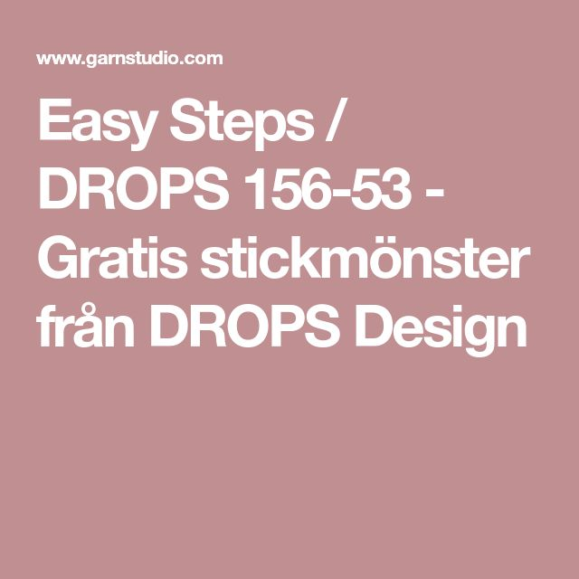 Easy Steps / DROPS 156-53 - Gratis stickmönster från DROPS Design