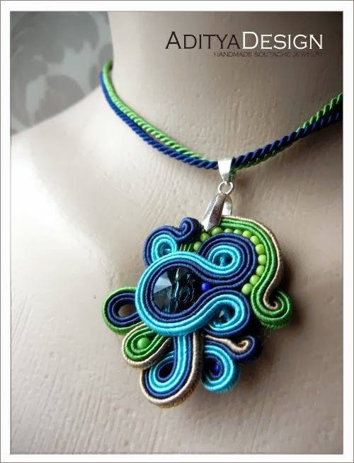 Soutache Pendant, Blue Green, OOAK Pendant, Handmade Jewelry, Swarovski Crystal, Rainbow Jewelry, Nozdormu Model by AdityaDesign