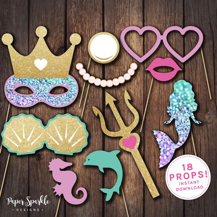 Mermaid props, Mermaid party props, Mermaid party, Mermaid birthday invitation, Mermaid invitation, Mermaid costume, Mermaid birthday by PaperSparkleDesigns on Etsy https://www.etsy.com/listing/513451027/mermaid-props-mermaid-party-props