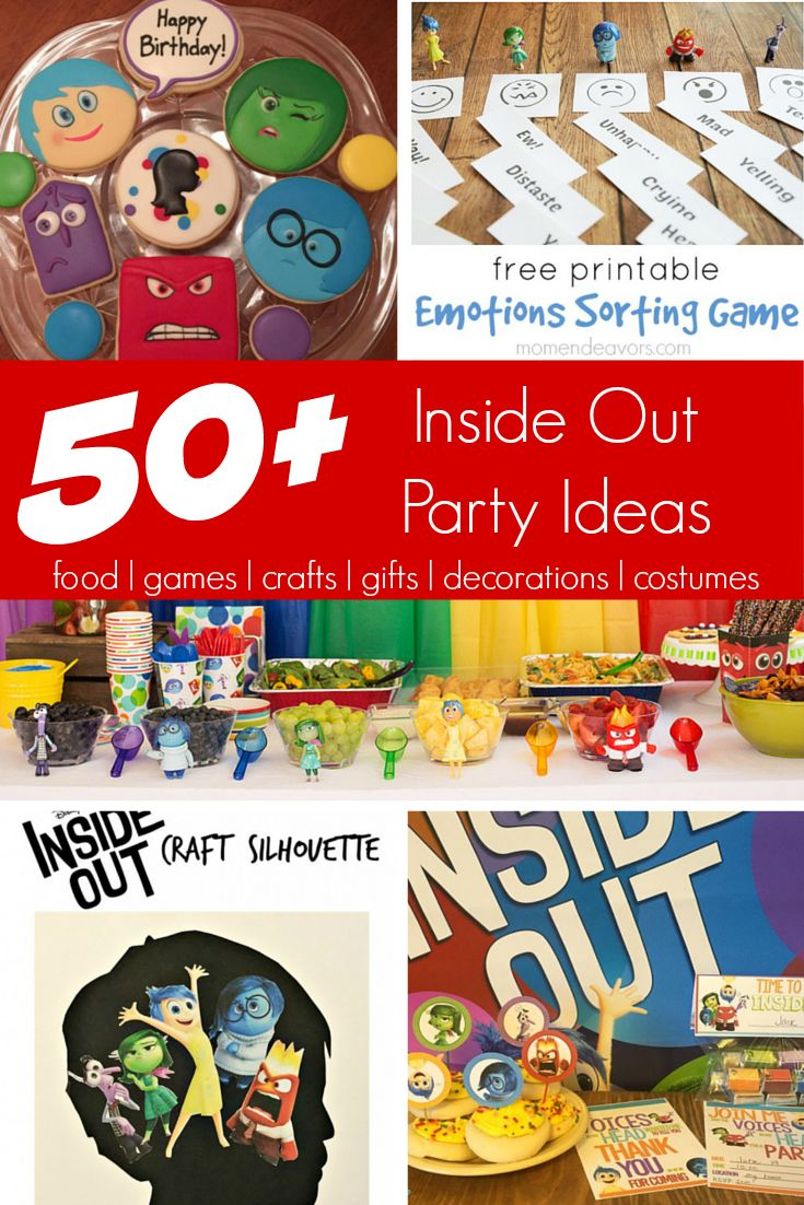 Inside Out cookies? Joy Printables? Games? Here are a list of more than 50 Inside Out party ideas!