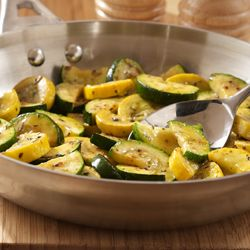 Simple sauteed squash recipe combines zucchini and yellow summer squash for a colorful side flavored with Italian seasoning