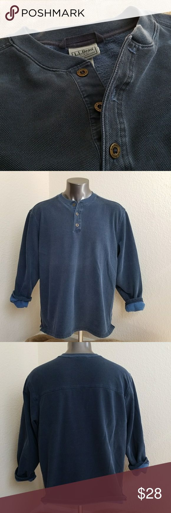 """Vintage LL Bean Fleece Lined Long Sleeve Shirt Men's L.L. Bean Vintage Crewneck Polo Shirt Long Sleeve  Fully lined with Soft Fleece. The entire inside is fleece lined including sleeves Navy Blue canvas type fabric  Men's size XL - Reg Measurements: Chest (Armpit to Armpit): 26"""" Length: 27"""" Sleeve: 24"""" Great condition   KW: Work, Hiking, Fishing, Outdoors L.L. Bean Shirts Polos"""
