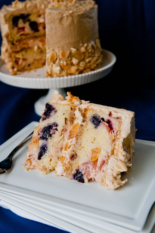 Nectarine Blueberry Cake With Caramel Frosting