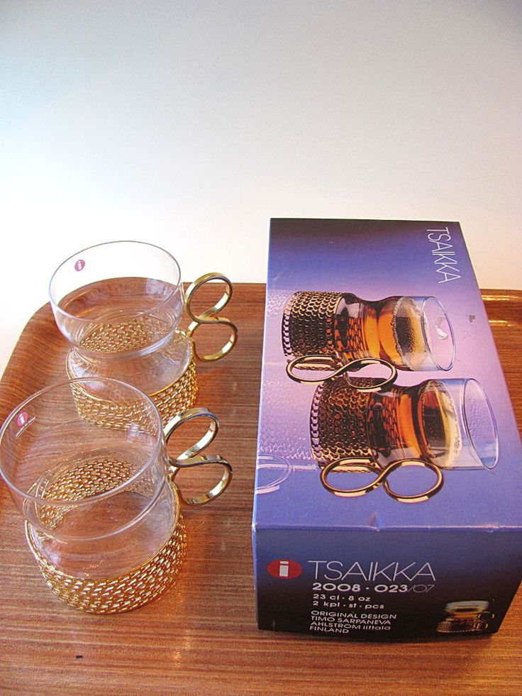 Vintage Set of 2 Tsaikka Glasses Gold Handle Timo Sarpaneva Iittala Finland