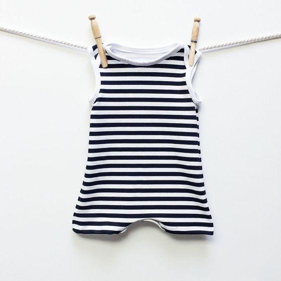 Retro Striped Baby Swimsuit - Baby Boy Swimwear   Swimsuit One Piece