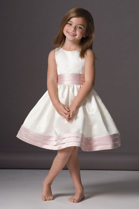 Great empire waist with ruffle satin dress for flower girl