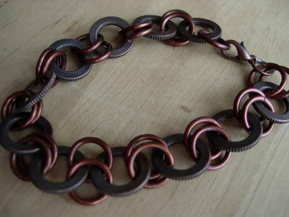 Recycled Washer bracelet with copper chainmaile by 2busybroads, $10.00