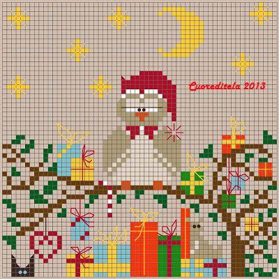 cuoreditela e disegni a crocette: Gufo Natale