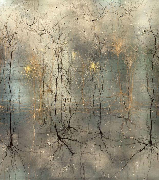 Photo : Cette représentation a été peinte à la main et est inspirée par des images microscopiques de structures cérébrales complexes