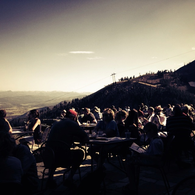 If you're in Jackson, WY's Teton Village take the gondola up to Couloir's patio for happy hour. Great food and great views of the surrounding area.