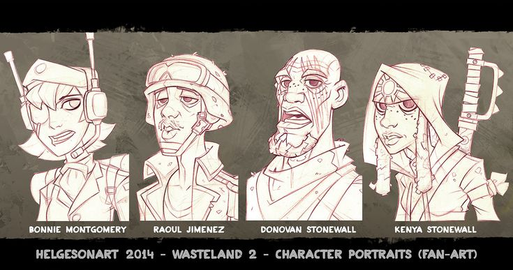 Wasteland 2 - Character Portraits Set 03 - Lineart, Johannes Helgeson on ArtStation at https://www.artstation.com/artwork/wasteland-2-character-portraits-set-03-lineart