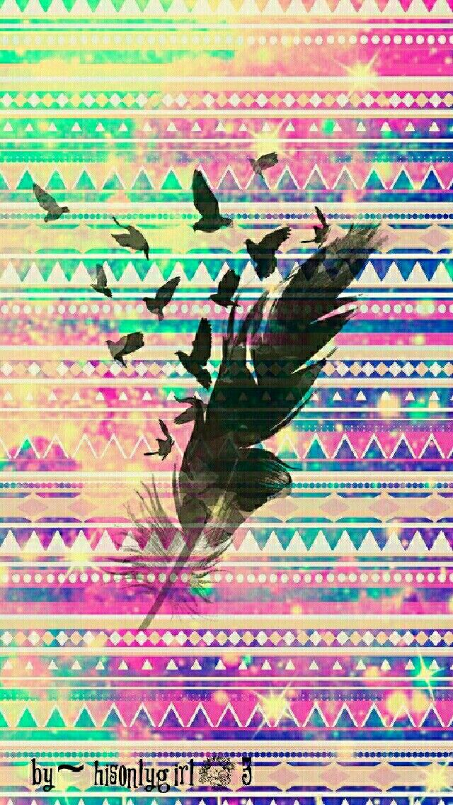 Tribal feathers galaxy wallpaper I created for the app CocoPPa