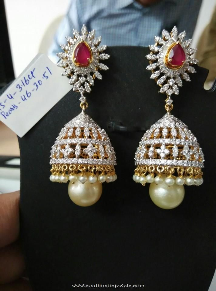 earrings with diamond emerald jhumka designs jewellery top