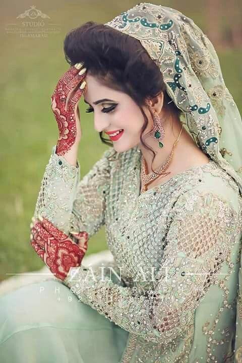 Pakistani bridal dress, light gree