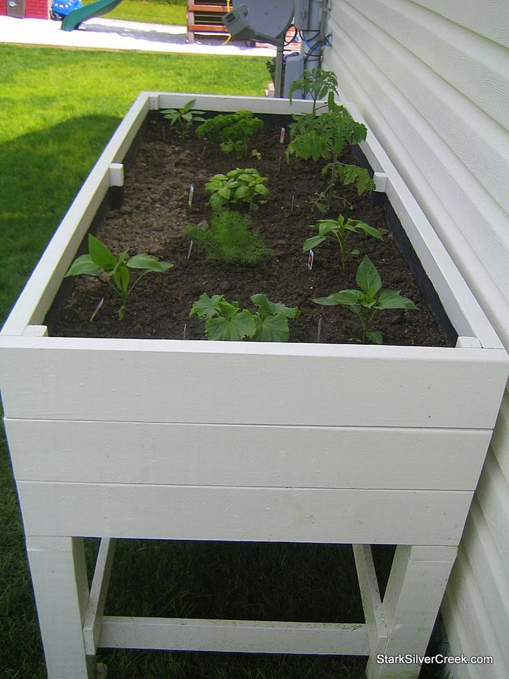 I like the idea of not having to bend down to tend to this garden. Plans for the planter box included....great for herb garden outside the kitchen door..could even put it on the deck
