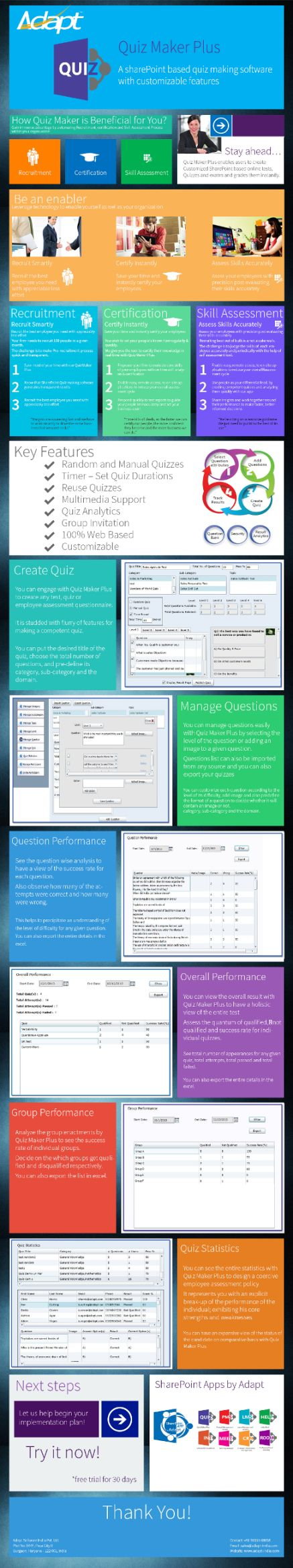 """***Sharepoint based quiz making software with customizable features *** """"Quiz maker plus enables users to create customized sharepoint based online tests, quizes and exams and grades them instantly.Engage with sharepoint based quiz maker plus to create any test, quiz or employee assesment questionnaire. http://www.adapt-india.com/blog/Infographics.aspx Enjoy!"""""""