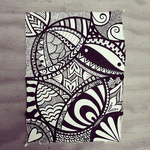 Indian Rag paper zen doodle using micron fineliners. by Wealie, via Flickr