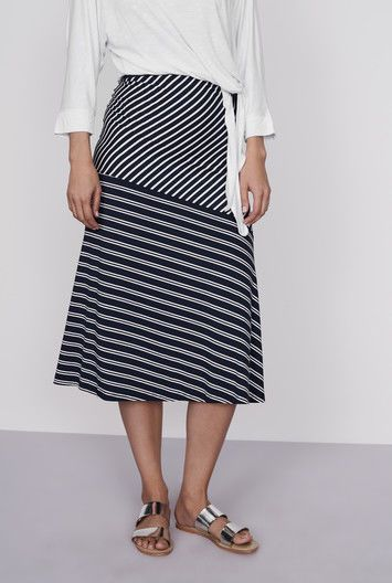 d7c07c5a87 LongTallSally Stripe Jersey Midi Skirt Navy/Ecru Size UK 14 DH087 SS 13 # fashion #clothing #shoes #accessories #womensclothing #skirts (ebay link)