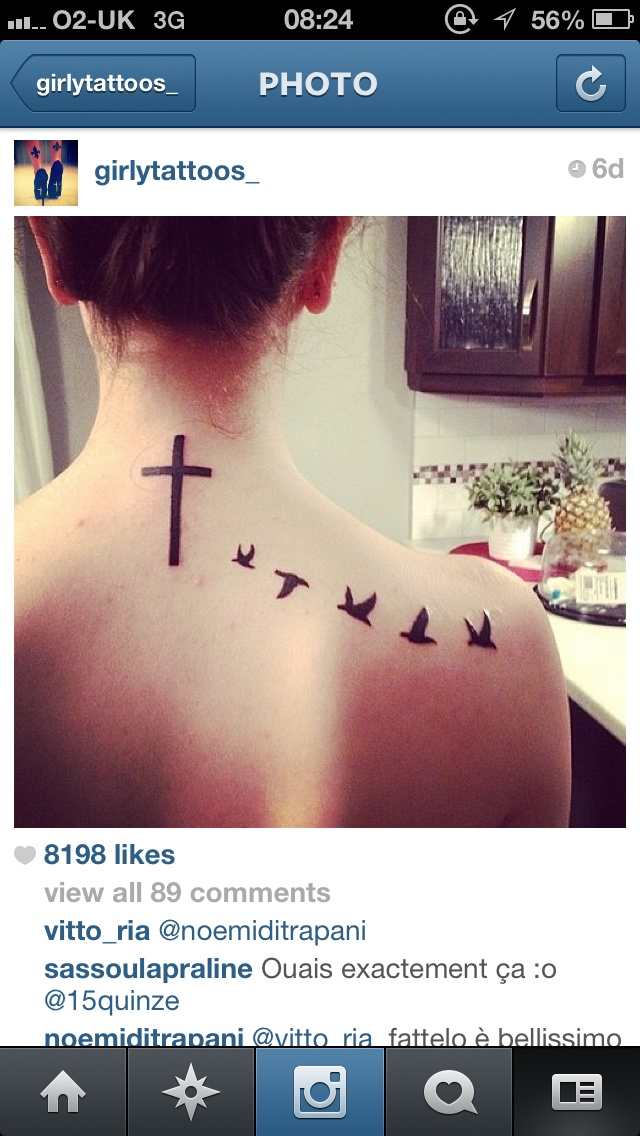 Cross tattoo, birds back, neck, tattoo