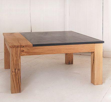 oak & slate coffee table...I like this in a darker finish for our living room, we need something that takes up a good bit of space