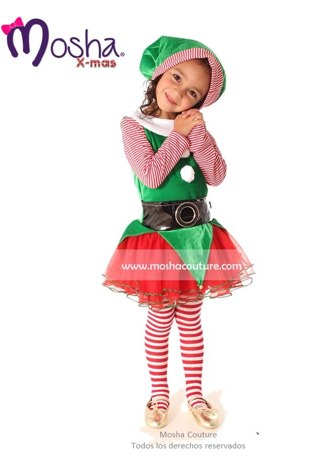 disfraz de Duende para niña. hecho en México www.moshacouture.com Elf costume for girl  made in mexico.