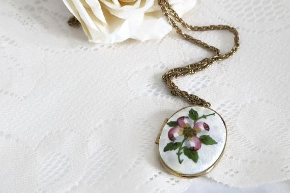 Vintage 1980's Guilloche pendant locket with lovely hand painted floral berry keepsake locket, lock white and pink enamel guilloche necklace