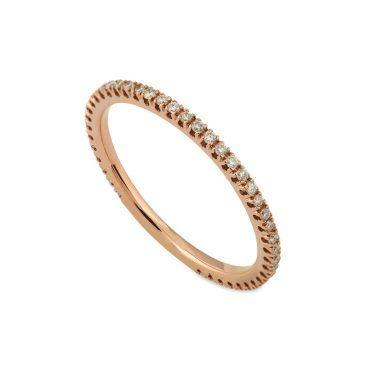 Ολόβερο δαχτυλίδι Κ18 από ροζ χρυσό με σειρέ διαμάντια μπριγιάν στη γάμπα του δαχτυλιδιού | Ολόβερα ΤΣΑΛΔΑΡΗΣ στο Χαλάνδρι #δαχτυλιδι #ολοβερο #σειρε #διαμαντια