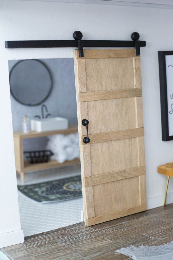 Dollhouse Master Bedroom Barn Door I Made It With Some