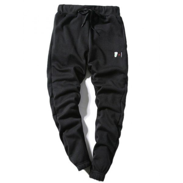 19.18$  Watch now - http://dikcp.justgood.pw/go.php?t=199300317 - Lace-Up Beam Feet Coffee Cup Embroidered Jogger Pants 19.18$