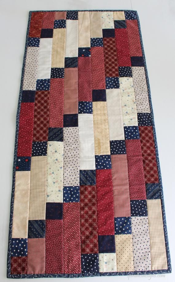 Americana Quilted Table Runner, 4th of July Table Runner, Quilted Table Runner, Quilted Patchwork Ta