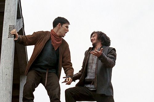 Pretty much Gwaine's character and his relationship with Merlin in one picture.