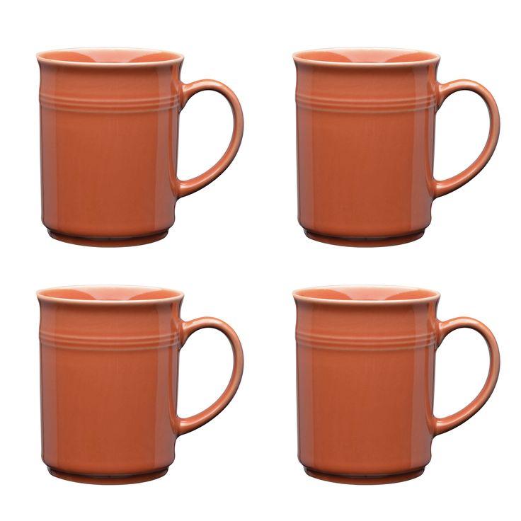 Culver Baristi Ceramic Mug 14-Ounce Set of 4 (Coral)