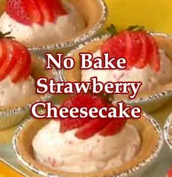 Food Network Rachael Ray shares her recipe for Easy No Bake Strawberry Cheesecake Dessert on her cooking show 30 Minute Meals. Rachael uses her food processor to whip up these delicious dessert strawberry cheesecakes that need no baking. Easy filling with mini graham cracker pie shells lets you whip this up in no time at all.