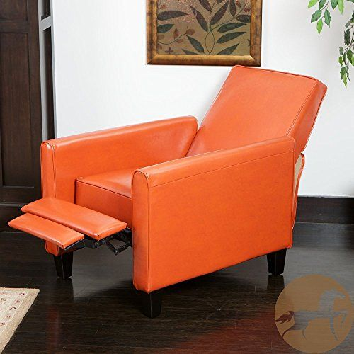 Christopher Knight Home Darvis (Tan/Black/Orange) Leather Recliner Club Chair (Orange)