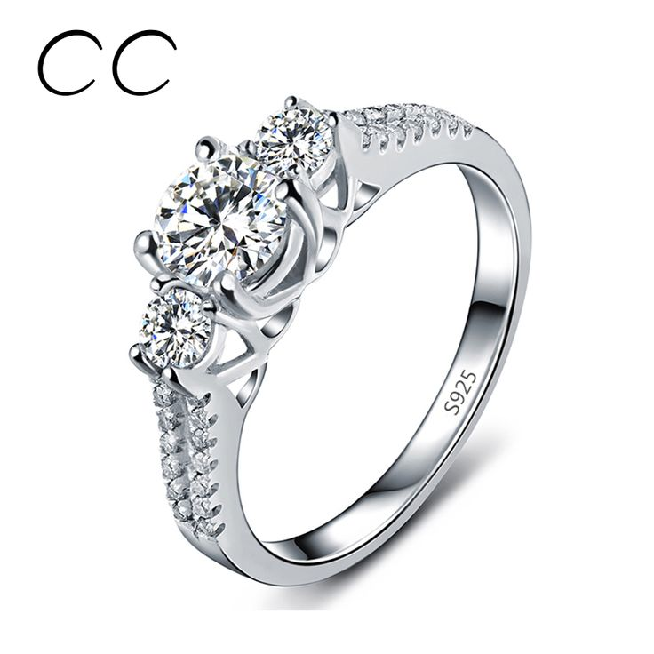 Fashion jewelry White Gold Platinum Plated Wedding Engagement Rings for Women Vintage Jewelry Anelli Joyeria For Sale CC011