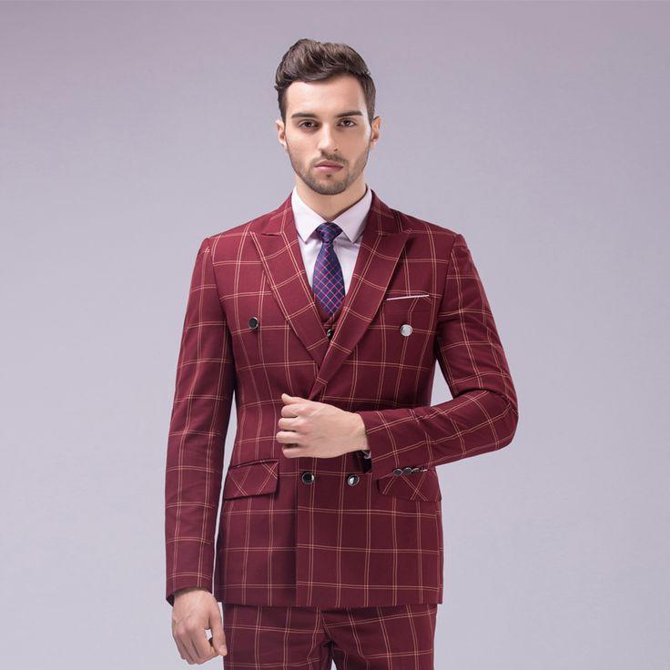 (Jas + vest + broek) Mannen Double Breasted Plaid Pak 2016 Slim Fit Business Party Bruiloft Bruidegom Suits voor Mannen Smokings C1954(China (Mainland))