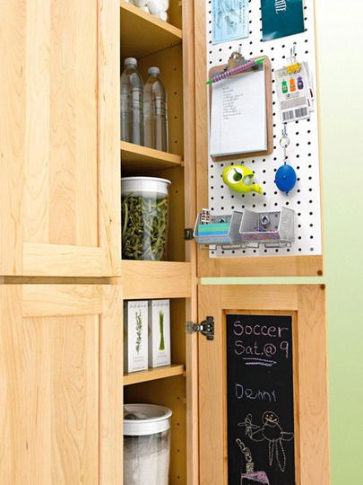 Peg board loveClosets Doors, Chalkboards Painting, Inside Cabinets, Peg Boards, Cupboards Doors, Cabinet Doors, Kitchens Cabinets, Pantries Doors, Cabinets Doors