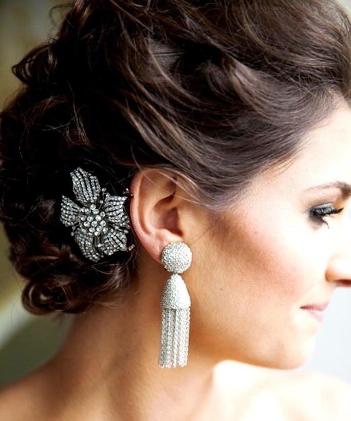 Bride's braided chignon updo bridal hair ideas  Toni Kami Wedding Hairstyles ♥ ❶ jeweled pin