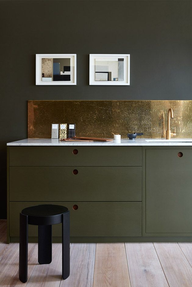 high-shine splashbacks dipped in metals or a glossy