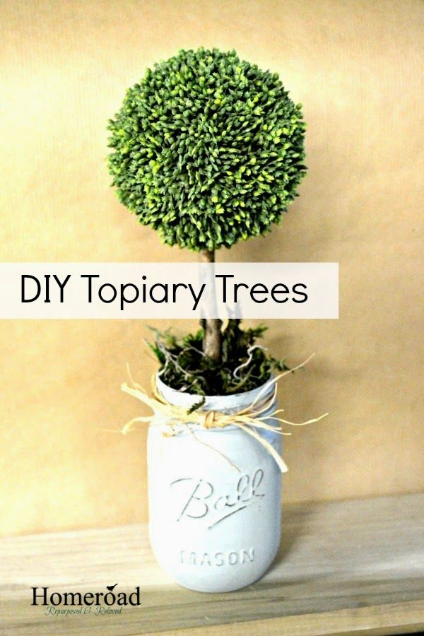 How to make DIY Spring Topiary Trees from sticks, mason jars, mugs, and sticks from your yard... easy project! www.homeroad.net