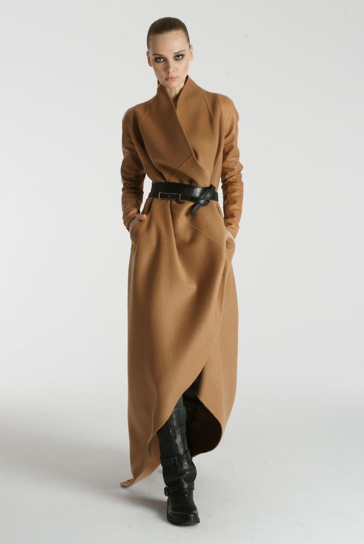 Camel color coat w/black belt & black boots...LOVE! Our Favorite New Fall Collection, Really!  #refinery29