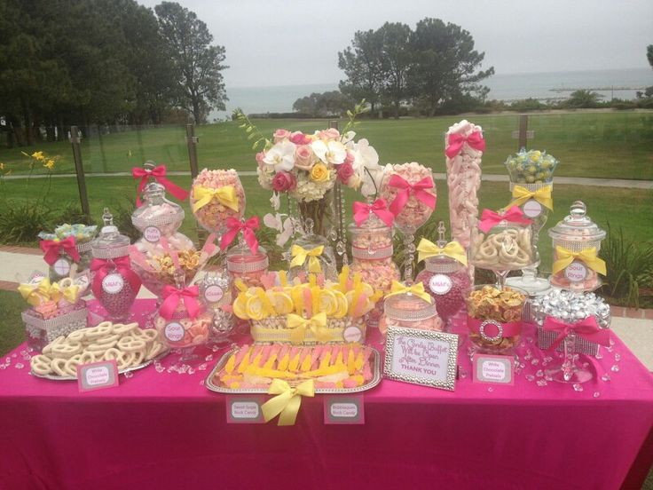pink yellow candy buffet